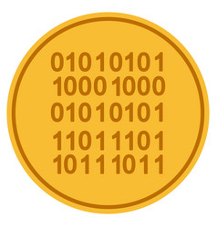 binary code gold coin vector image