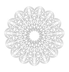 black and white round simple mandala hand drawn vector image