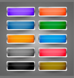 Blank metallic glossy web buttons set vector