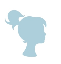 Blue silhouette profile of a young girl vector image