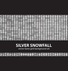 bone pattern set silver snowfall seamless vector image