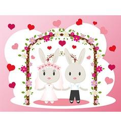 Bunnies wedding card vector