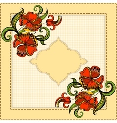 Card with hand-drawing pattern and frame vector