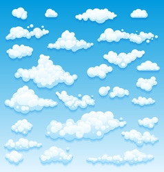 Cartoon Clouds Set On Blue Sky Background Set of vector image