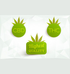 cbd thc marijuana highest quality logos vector image