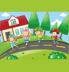 Children rollerskating in the neighborhood vector