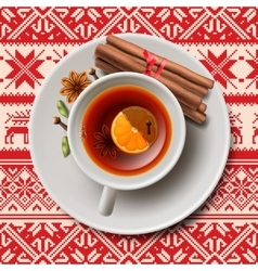 Christmas tea with spices aromatic mulled wine vector image vector image