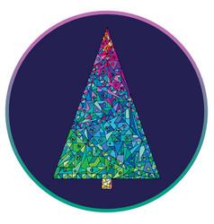 Christmas tree hand drawn happy new vector