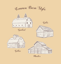 Collection common barn style hand draw sketch vector