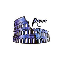 Colosseum rome picture vector