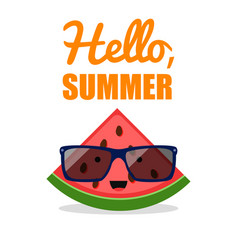 comic watermelon sunglasses fruit character vector image