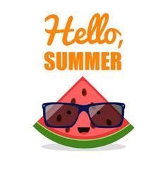 comic watermelon sunglasses fruit character vector image