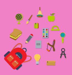 Composition backpack schoolboy with accessories vector