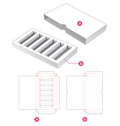 Cosmetic insert box with cover die cut template vector