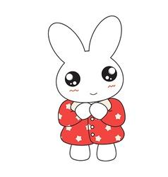 Cute cartoon bunny girl in a pretty pink dress vector image