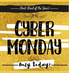 cyber monday sale banner on golden luxury vector image