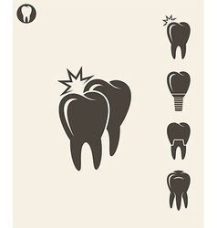 Dental hygiene Stylized teeth on gray background vector image