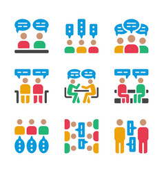 discussion icon set vector image