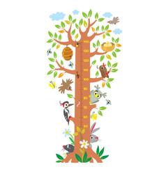 Fairy tree with animals meter wall or height chart vector