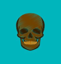 Flat shading style icon skull vector
