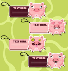 Four cute cartoon Pigs stickers vector image