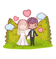 girl and boy couple with hearts and clouds vector image