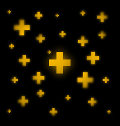 gold crosses on a black background vector image