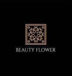 golden elegant luxury flower line pattern logo vector image