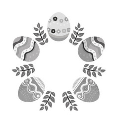 Grayscale eggs easter with branches plant vector