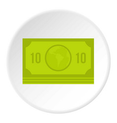 Green money banknote icon circle vector