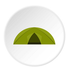 green tent for camping icon circle vector image