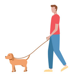 Guy walking with dog passer-by male character vector