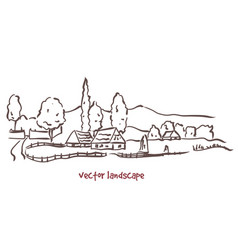 Handwritten sketch of rural landscape vector
