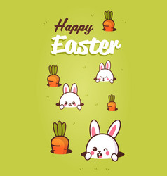 happy easter greeting card with rabbits looking vector image