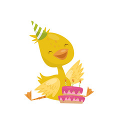 Happy smiling little yellow duckling character in vector