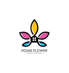home flower logo premium vector image