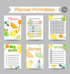 honey prinatables with flat honey elements notes vector image