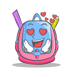 In love school bag character cartoon vector