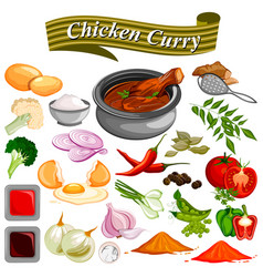 ingredient for indian chicken curry recipe with vector image