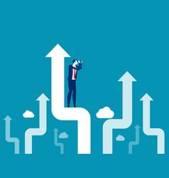 investor standing on upward arrow looking vector image