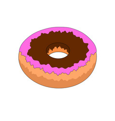 isolated chocolate doughnut icon vector image