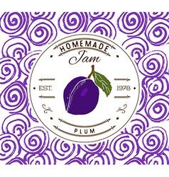 Jam label design template for plum dessert product vector