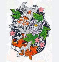Japanese fish tattoo design vector