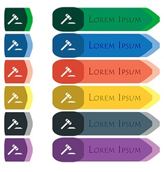 Judge or auction hammer icon sign Set of colorful vector
