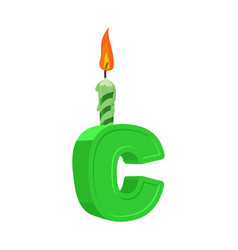 letter c birthday font letter and candle vector image
