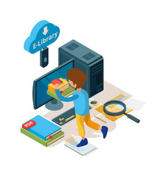 Library isometric online education book and vector