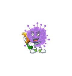 Mascot coronavirus influenza with bottle beer vector