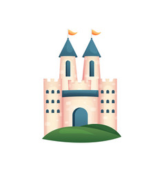 medieval royal castle with blue gate and roof vector image