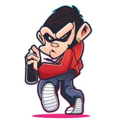 monkey graffiti artist vector image