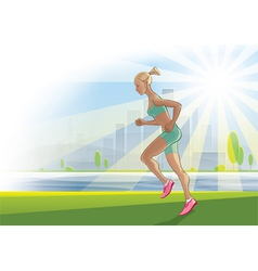 morning run on urban landscape vector image